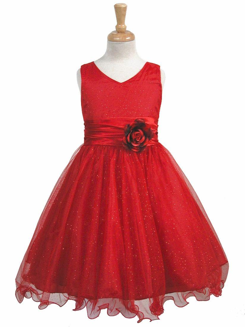 Red glittered poly mesh w matching charmeuse waist u flower