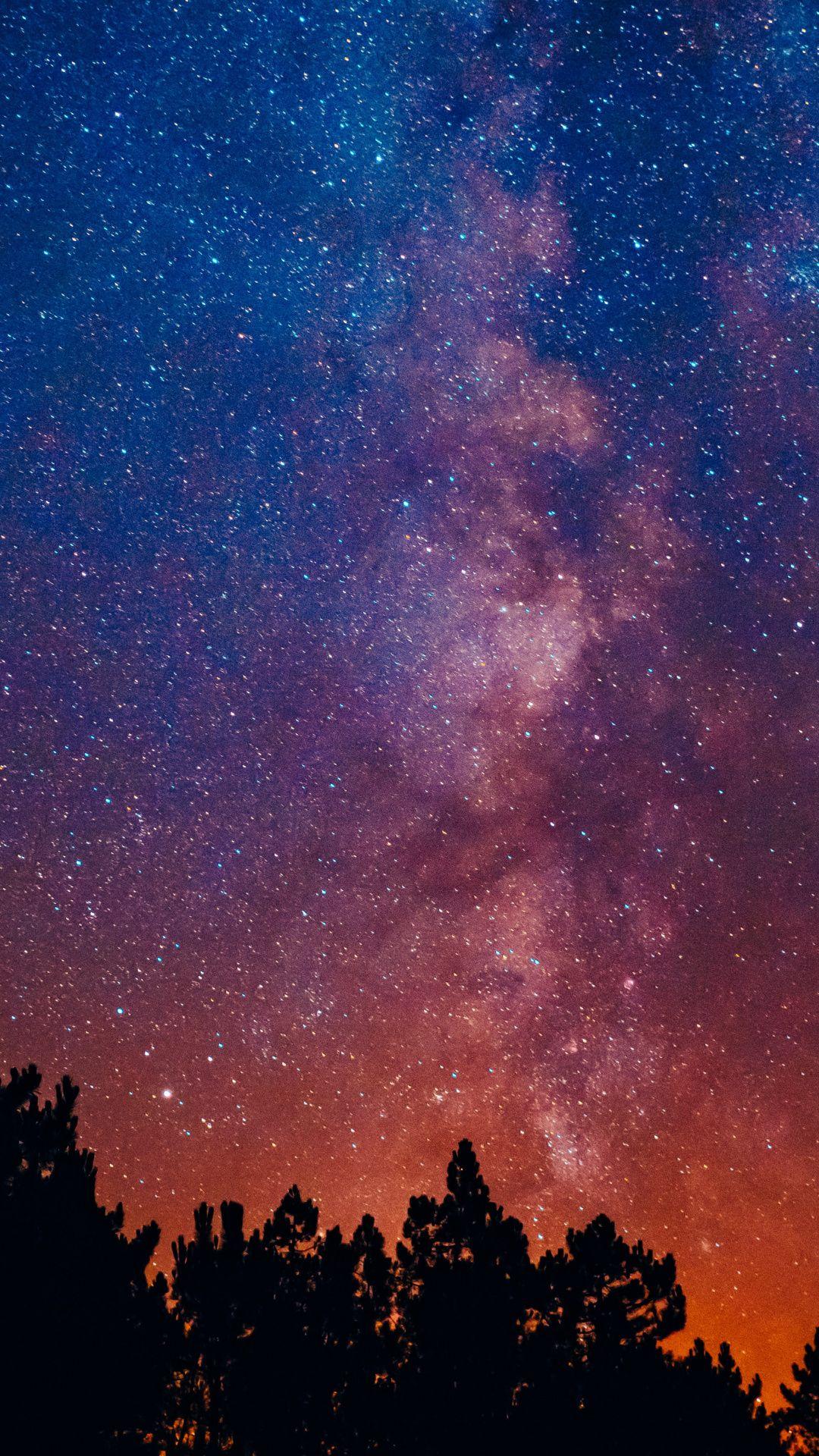 1080x1920 Beautiful Night Starry Sky Milky Way Wallpaper