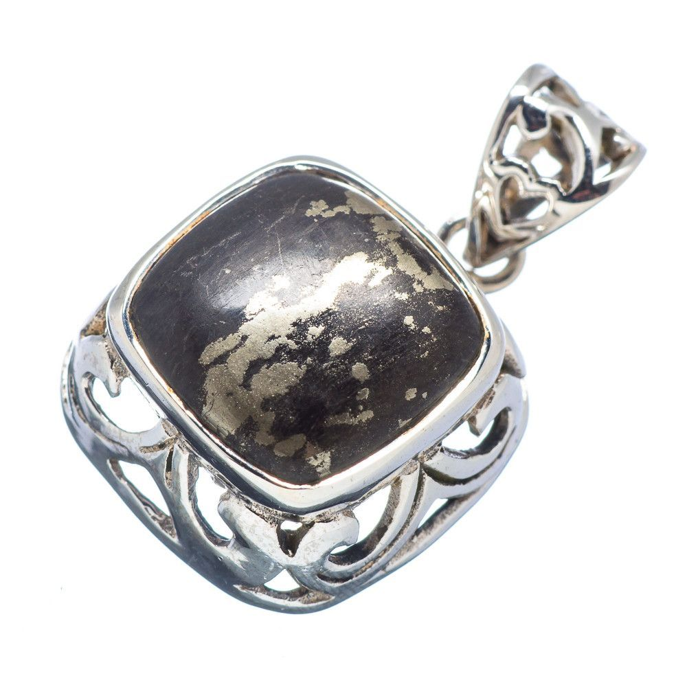 """Pyrite In Magnetite (healer's Gold) 925 Sterling Silver Pendant 1 1/8"""" PD530672"""