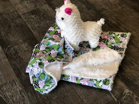 Cactus and Llama faux Fur Baby blanket and Lovey / security blanket / stuffed toy #securityblankets