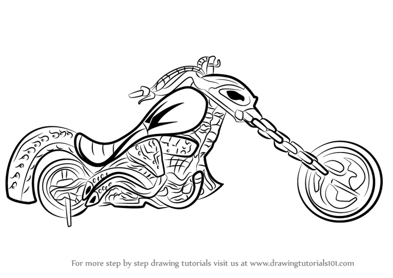 Learn How To Draw Ghost Rider Bike Marvel Comics Step By Step Drawing Tutorials Ghost Rider Bike Ghost Rider Bike Drawing