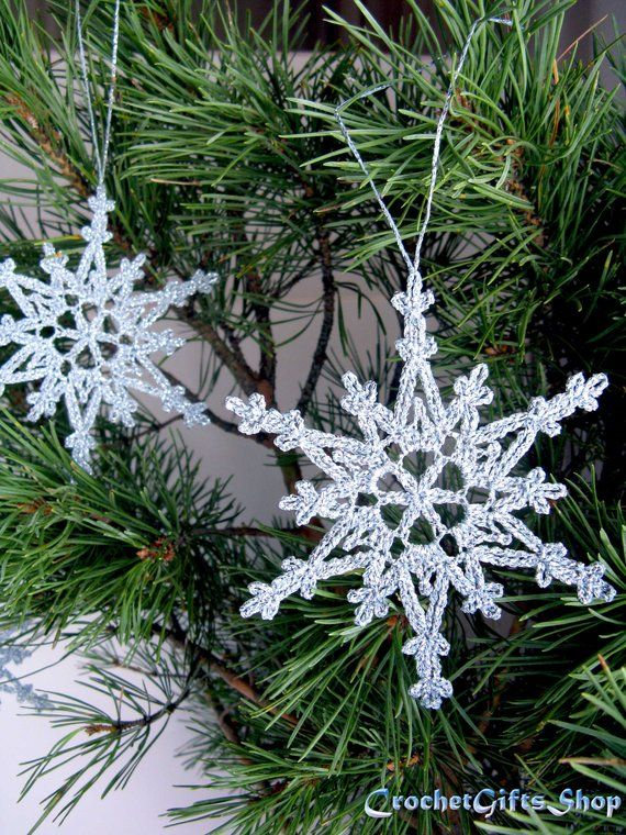 Crochet hanging snowflake PDF Pattern Instant Download Christmas winter weddings decoration Ornament Lace applique xmas decor on a fir tree #christmascrochetpatterns