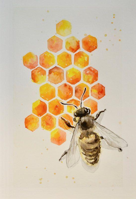 Aya Devin Honey Bee Aquarell und Mixed Media Art kreative Illustrationen und Kunst