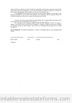Printable Sample Assignment Of Contract Form  Generic Legal