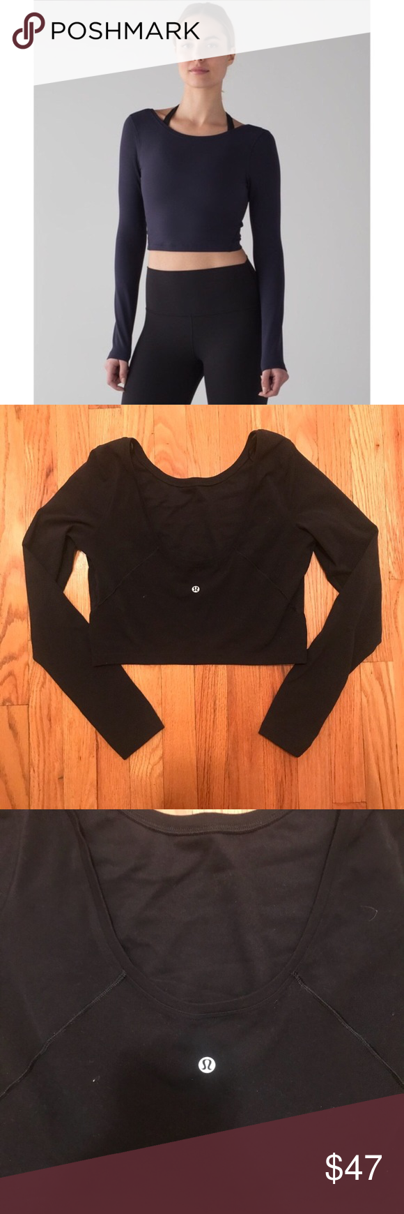 a3cfa766567 Lululemon Arise Crop Long sleeve Black size 8 Lululemon long sleeve crop  top. Super soft material and in excellent condition. lululemon athletica  Tops Crop ...