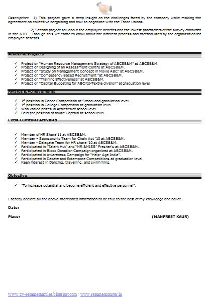 Cv Resume Format Page 2 Resume Format Resume Sample Resume Format