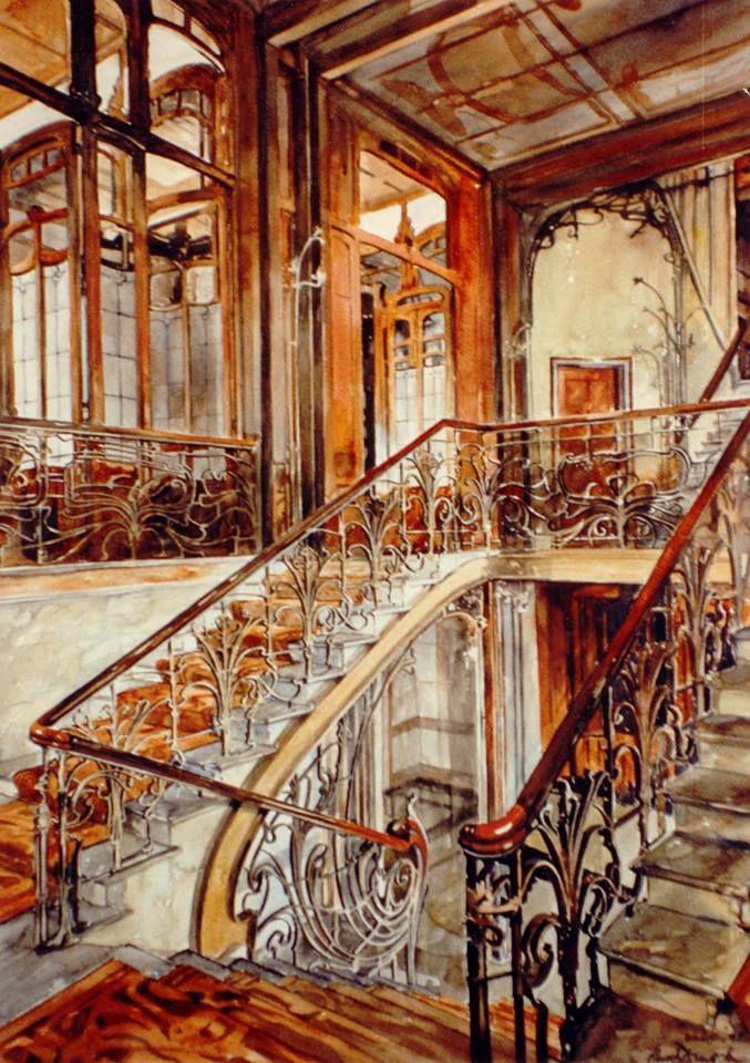 Paul Dmoch     Cage d'escalier de Hôtel Solvay Bruxelles - aquarelle pure