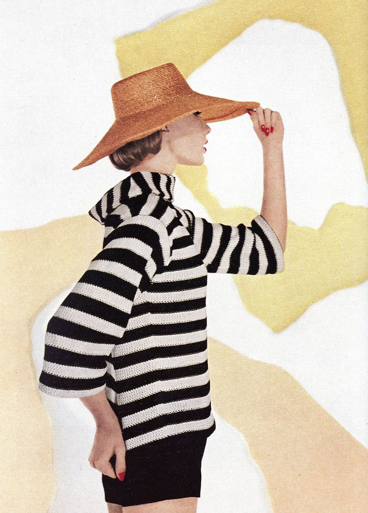 Jessica Ford in striped knit top and shorts by Nelly de Grab, hat by Mr. John, photo by Louise Dahl-Wolfe, Harper's Bazaar, May 1957