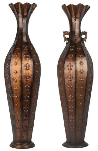 Tall Bronze Floor Standing Vase Stunning Metal Vase With Without