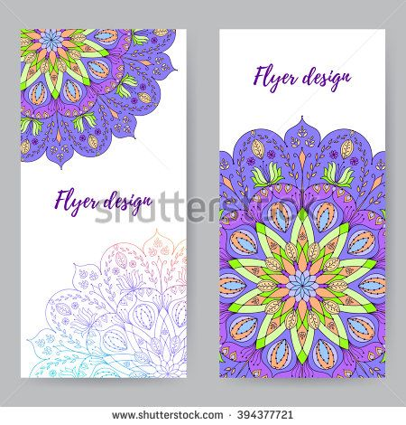 Bright Rack Card With Floral Mandala Template For Advertising