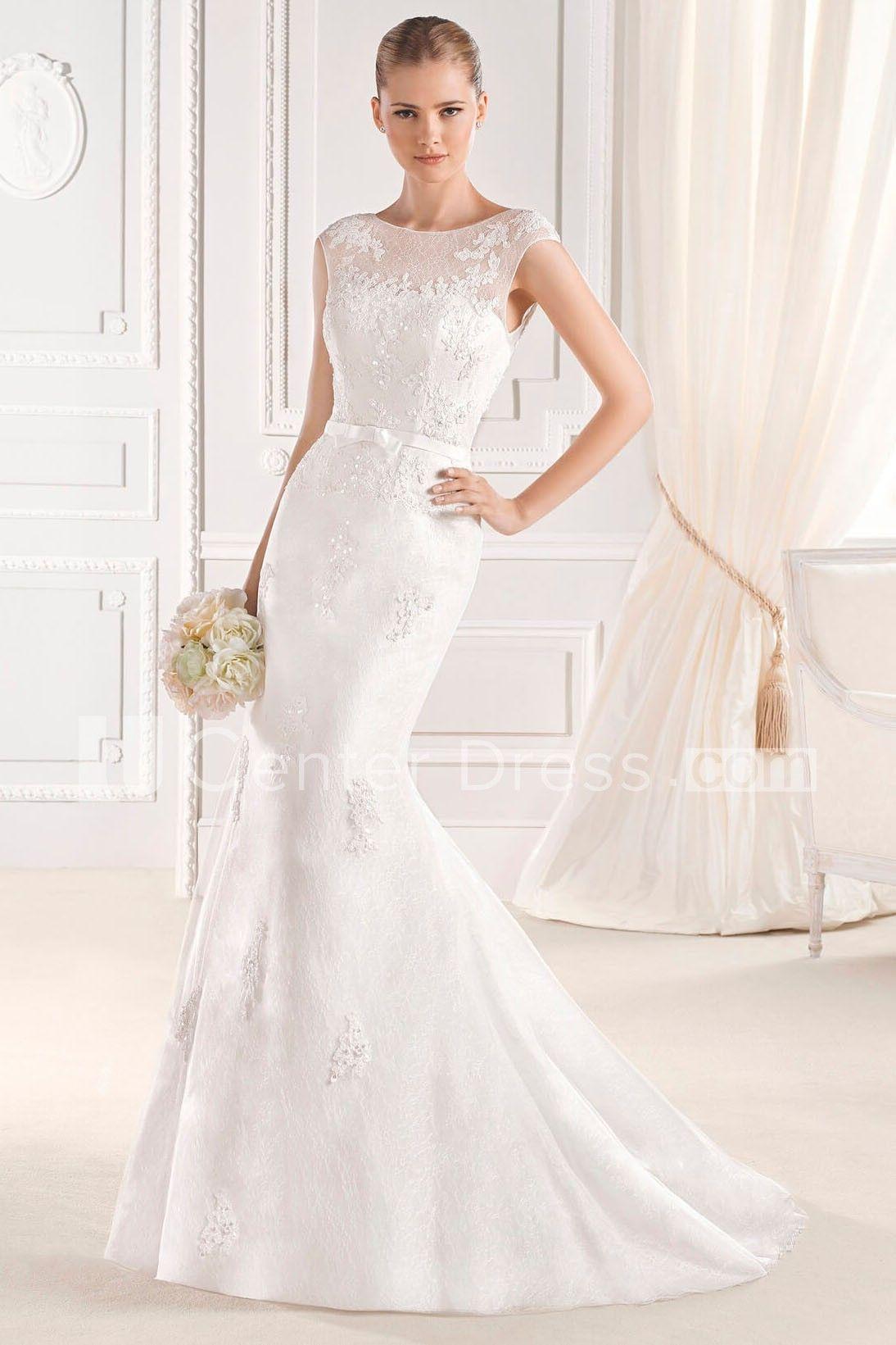 Mermaid lace wedding dress  Elegant u Classic Trumpet CapSleeve ScoopNeck Long Mermaid