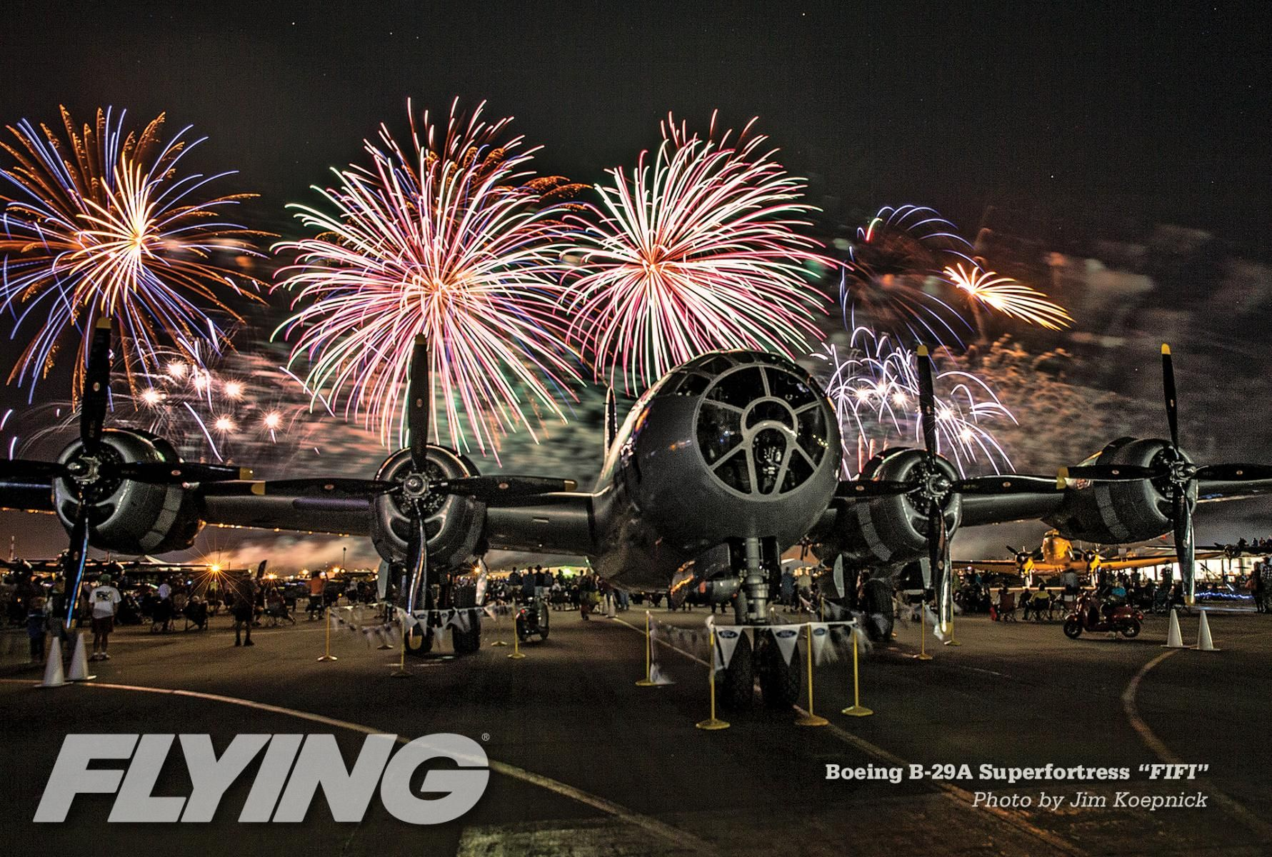 "AirVenture Night Airshow and Boeing B-29 Superfortress. The Commemorative Air Force's ""Fifi"", world's only flying B29."