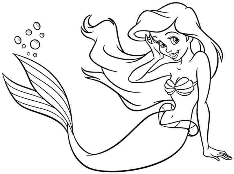 Free Coloring Pages Free Disney Princess Ariel For Kids For Kids ...