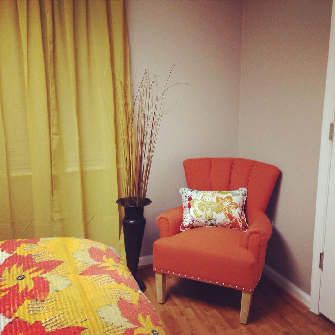 Mustered yellow and burnt orange bedroom Burnt orange