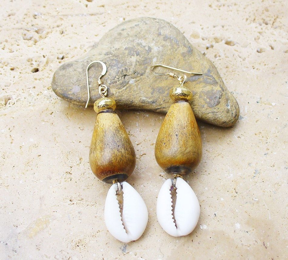 Buffalo Horn Bead And Cowrie Shell Earrings With Gold Filled Textured Beads  And Gold Filled French
