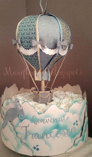 svg cut, hot air balloon, versamagic, diapers cake, stork, baby shower | https://lomejordelaweb.es/
