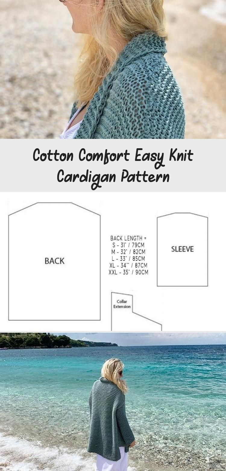 Photo of Cotton Comfort Easy Knit Cardigan Pattern #cardiganpatterns Free cardigan knitti…