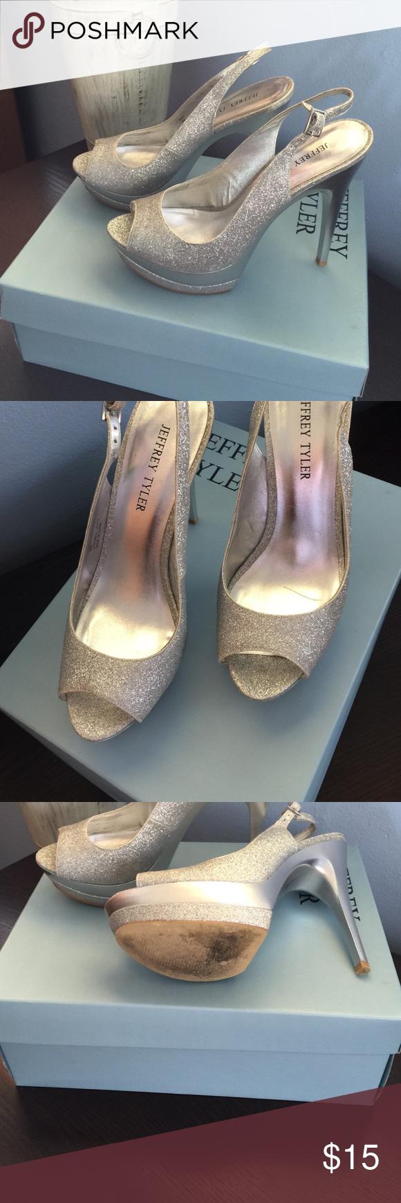 Jeffrey Tyler Silver Platform Pumps Worn once for a wedding around 4 inch heel Jeffrey Tyler Shoes Heels