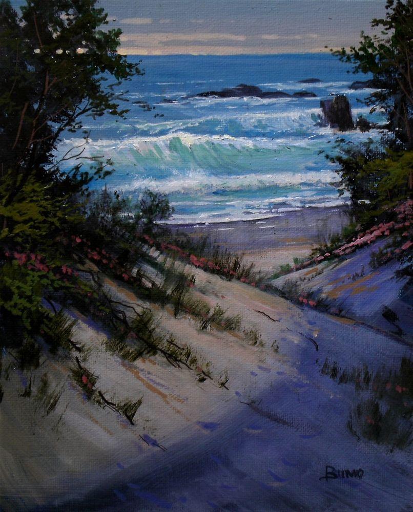 Original Oil Painting Napa Valley Artist O Landscape Impressionist Beach Impressionism