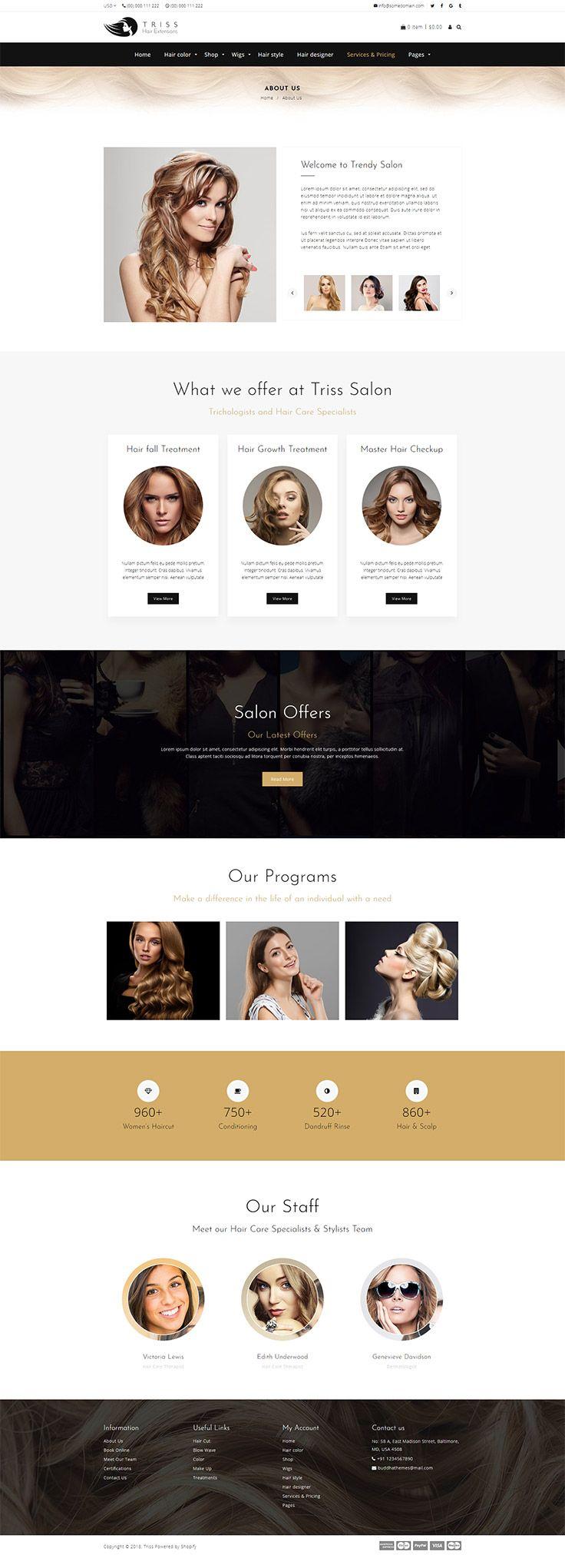 Triss Salon Theme Salons, Shopify theme