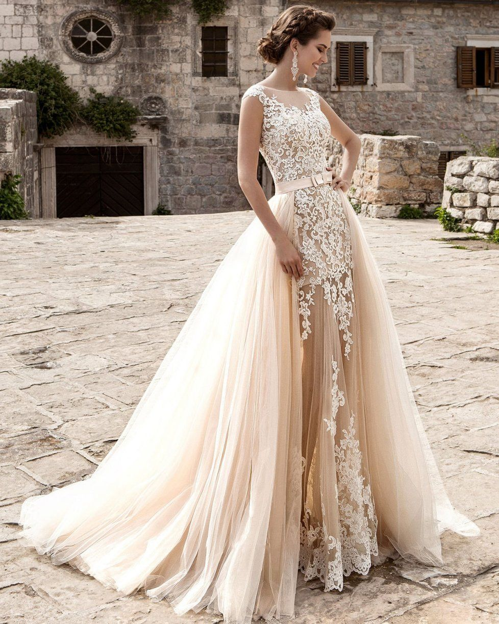 Vintage Champagne Mermaid Lace Tulle Wedding Dresses 2016 Sheer ...