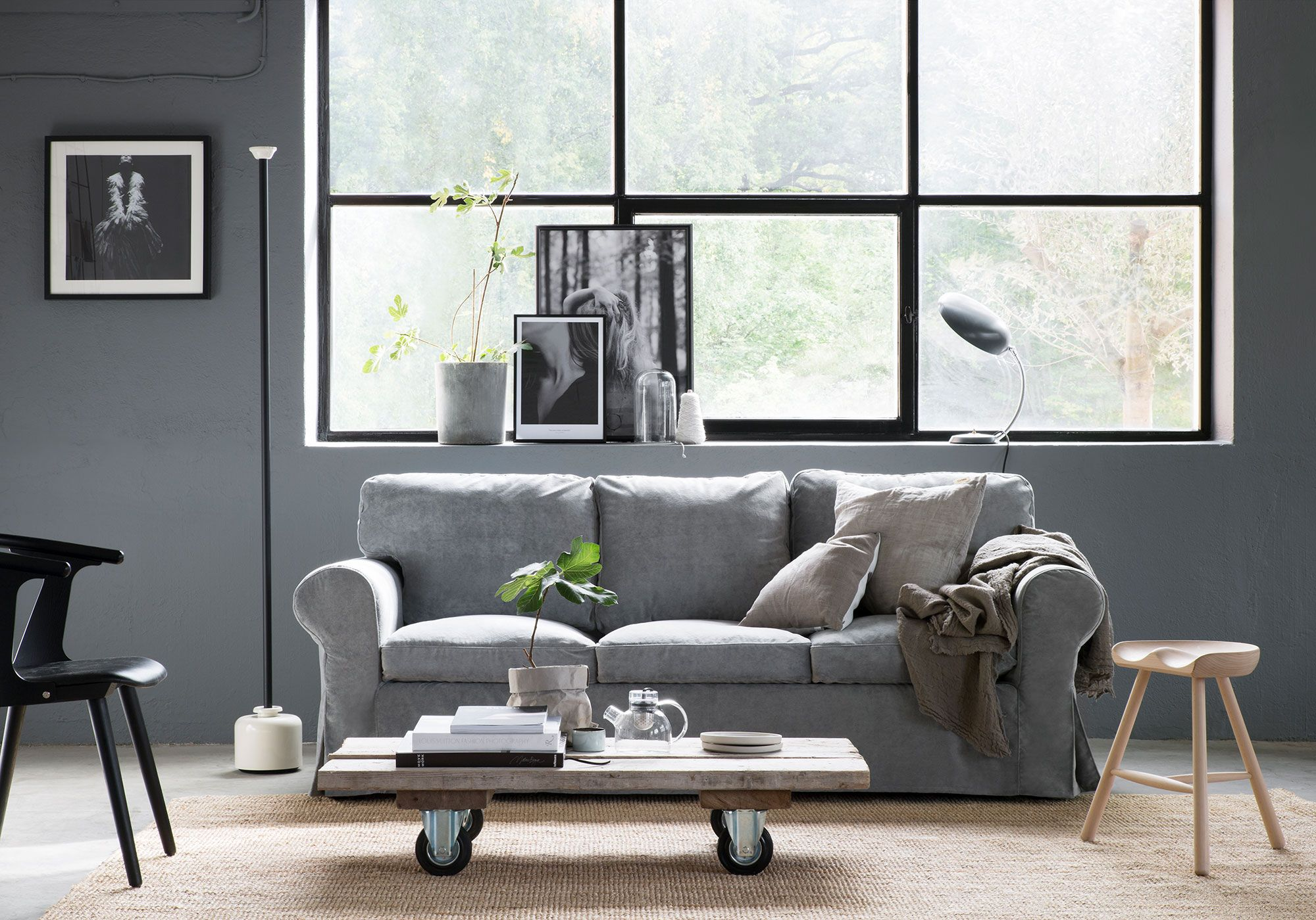Grey scandinavian inspired living room with industrial style images grey velvet sofa ikea - Wohnzimmertisch groay ...