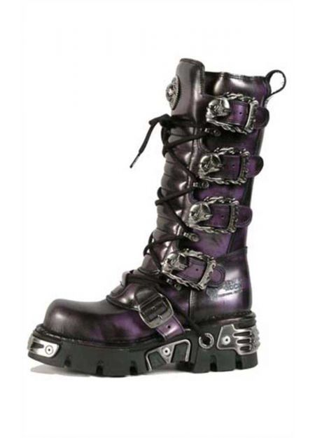 6fd6501543 New Rock Purple Boots with Skull and Flame Buckles M.402-C1 ...