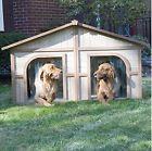 Extra Dog House Double Door Wood Duplex Pet Shelter Outdoor Kennel for sale online