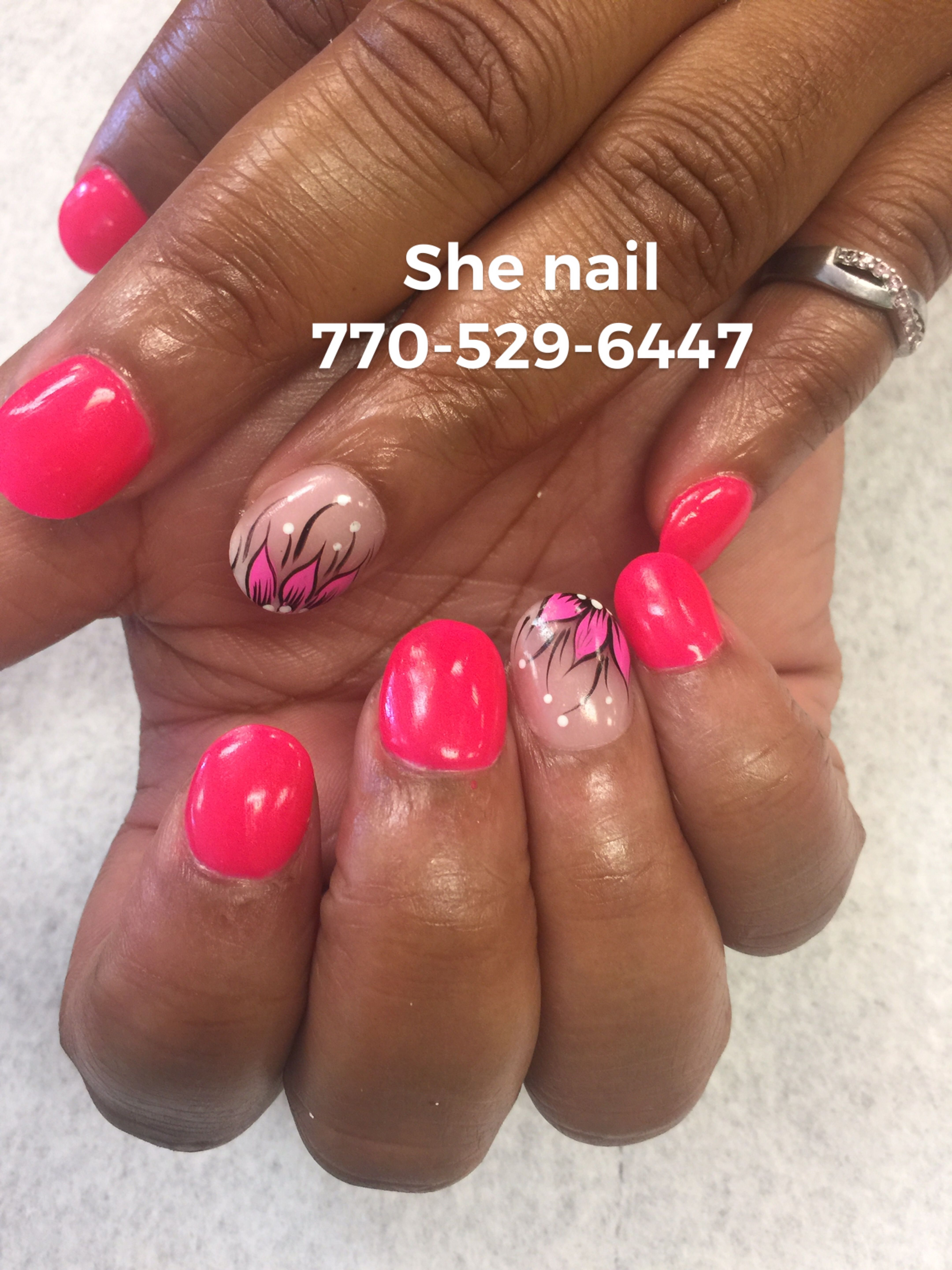 Hot pink SNS powder glow in the dark fun for summer | Acrylic nail ...