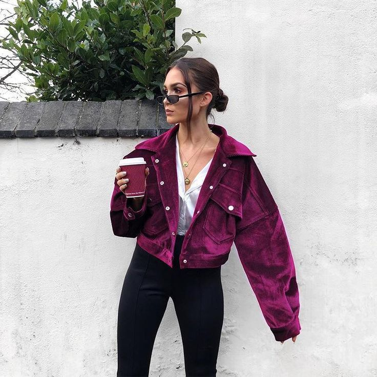 Candy Color Lapel Pockets Buttons Women Cropped Jacket Coat #streetfashion #girl… - gunesblog.com/bestfashion