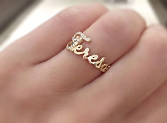 Script Diamond Name Ring By Skinnybling On Etsy Rings