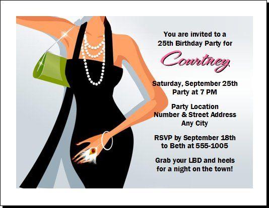 Little Black Dress Birthday Party Invitation Set Of 12 Party