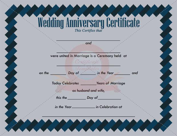 Anniversary Certificate Template  Anniversary Certificate