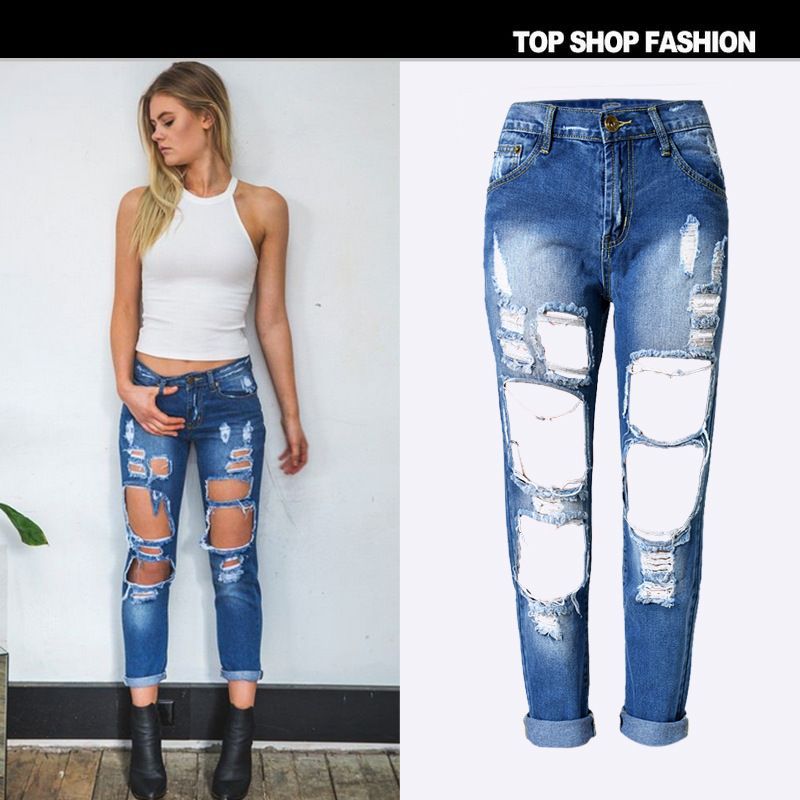Find More Jeans Information about 2016 Women Jeans Ripped Jeans ...