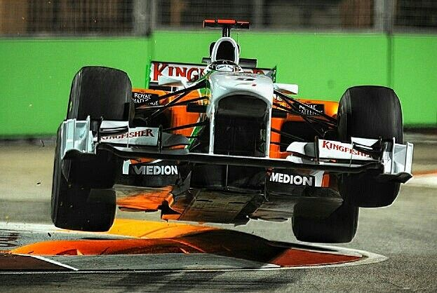 "Adrian Sutil gave new meaning to the expression ""flying around the track""  when he took off at the infamous ""Singapore Sling"" chicane during the 2010 Singapore Grand Prix. #F1 #Formula1 #SingaporeGP #SingaporeSling #AdrianSutil"
