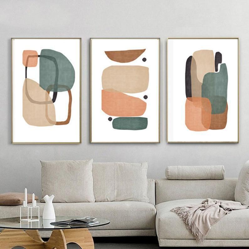 Modern Poster Abstract Set Of 3 Geometric Wall Art Geometric Print Shapes Art Trio Art Prints Digital Download Interior Art Midcentury Art