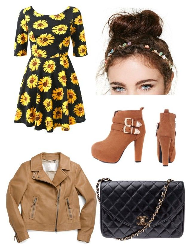 """""""Outfit #55"""" by emily-432 ❤ liked on Polyvore featuring NOVA, Coach, Chanel, Summer, Hipster, floralprint, bun and summerfall"""