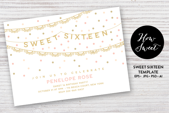Check Out Sweet Sixteen Party Card EPS By Pixejoo On Creative - Contoh invitation card sweet seventeen birthday party