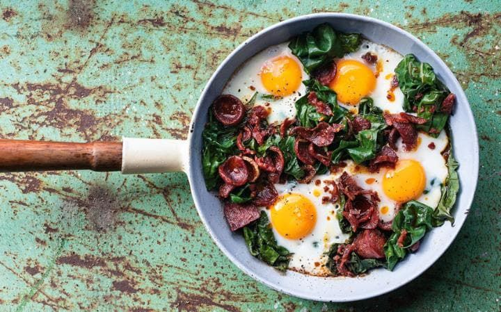 Spicy eggs with chroizo and kale. Simple and all cooked in one pan.
