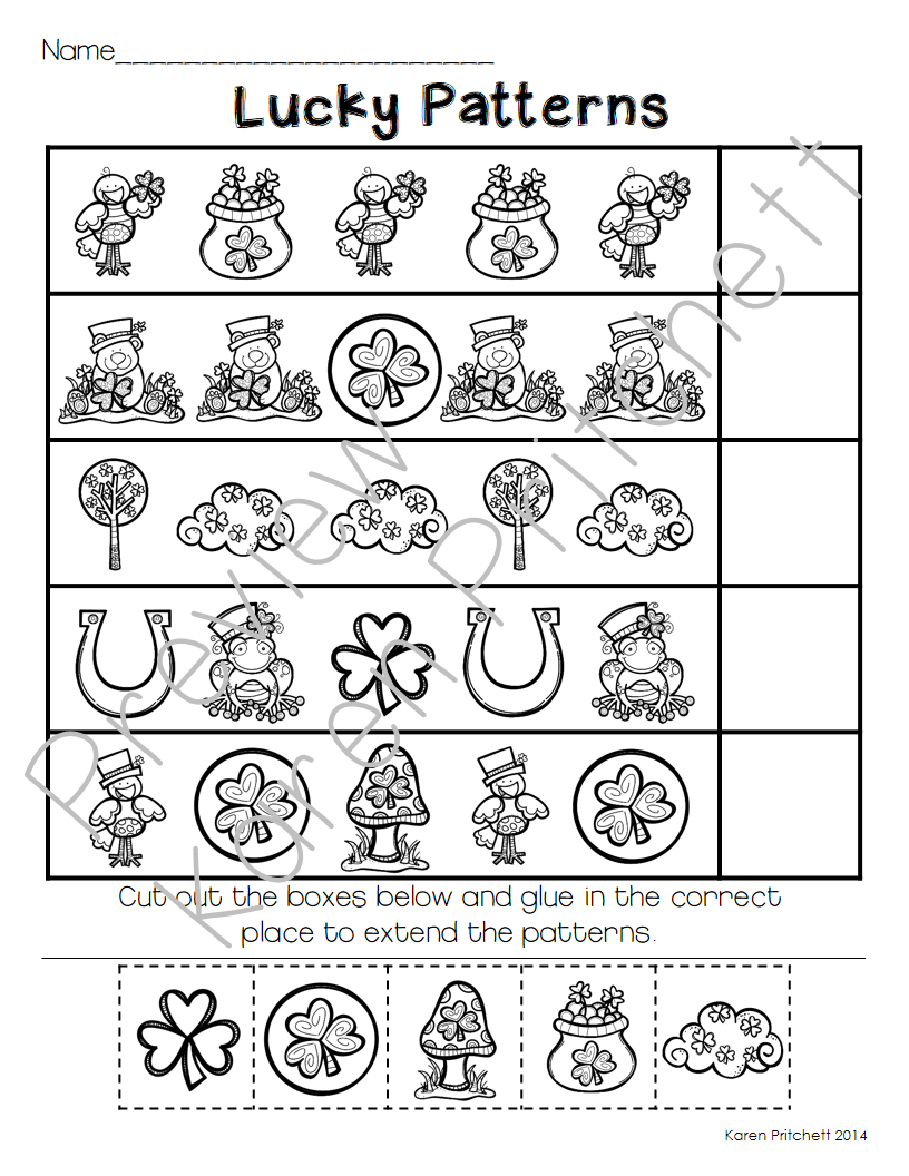 March Math Fun I Think You Ll Love This Morning Work Math Packet Just In Time For St Patrick S Day March Math Math Patterns St Patricks Day Crafts For Kids [ 1056 x 816 Pixel ]