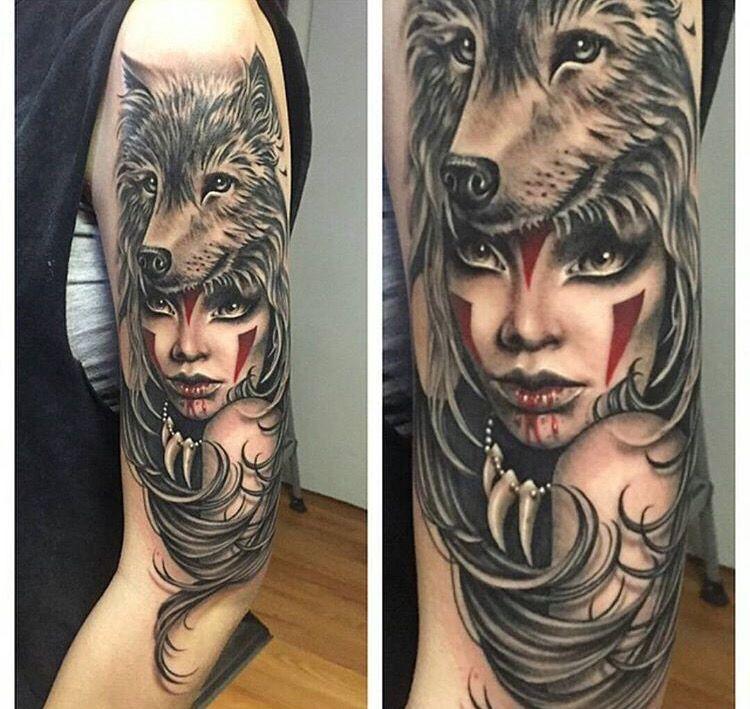 Native American Woman Tattoo Thigh Tattoos Women Wolf Tattoos Tattoos