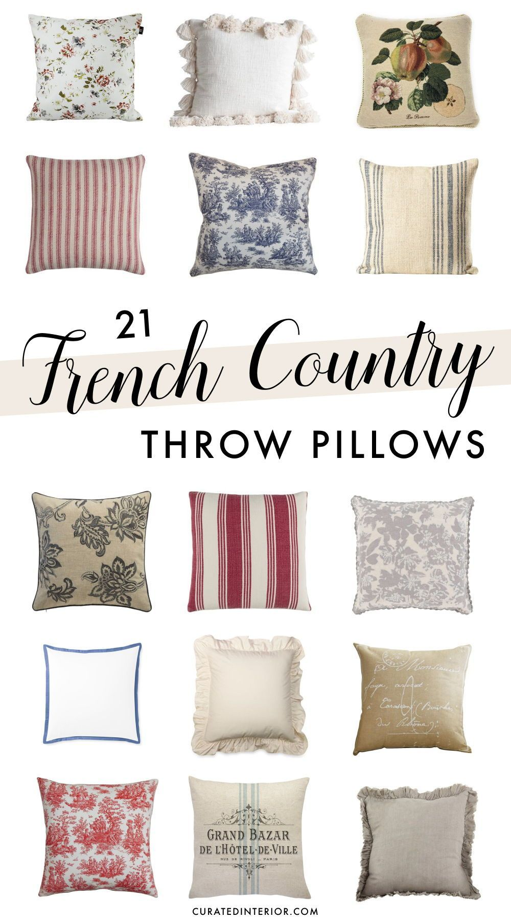Photo of 21 French Country Throw Pillows
