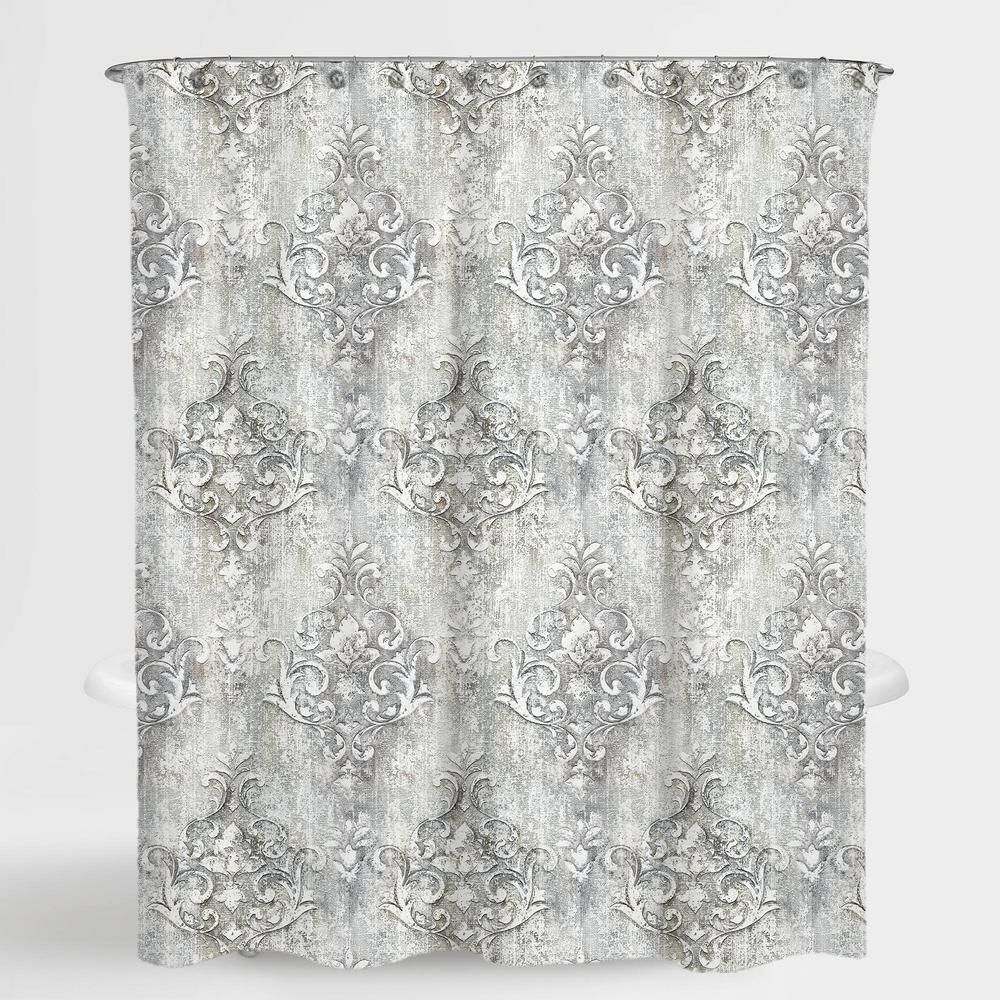 A1 Home Collections 72 In X 72 In Floral Grey Niece Water Repellent Shower A1psc014 Vinyl Shower Curtains Curtains With Rings Fabric Shower Curtains