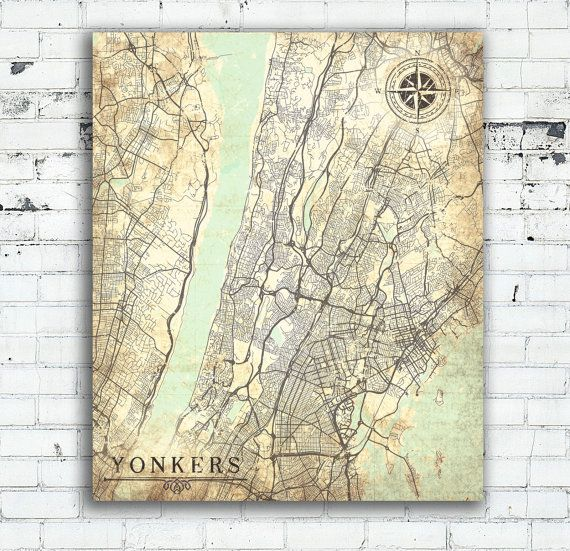 YONKERS NY Canvas Print Yonkers City NYC New York City Map Yonkers