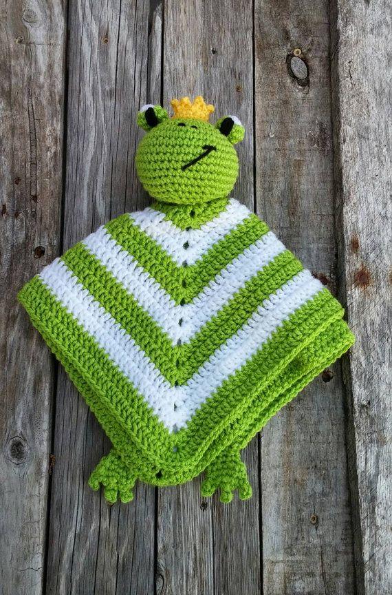 Frog Prince Crochet Lovey Green White Yellow Door