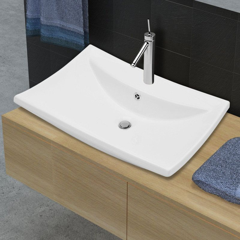 Bon Rectangular Ceramic Bathroom Basin Sink White 600mm | Buy Bathroom Basins