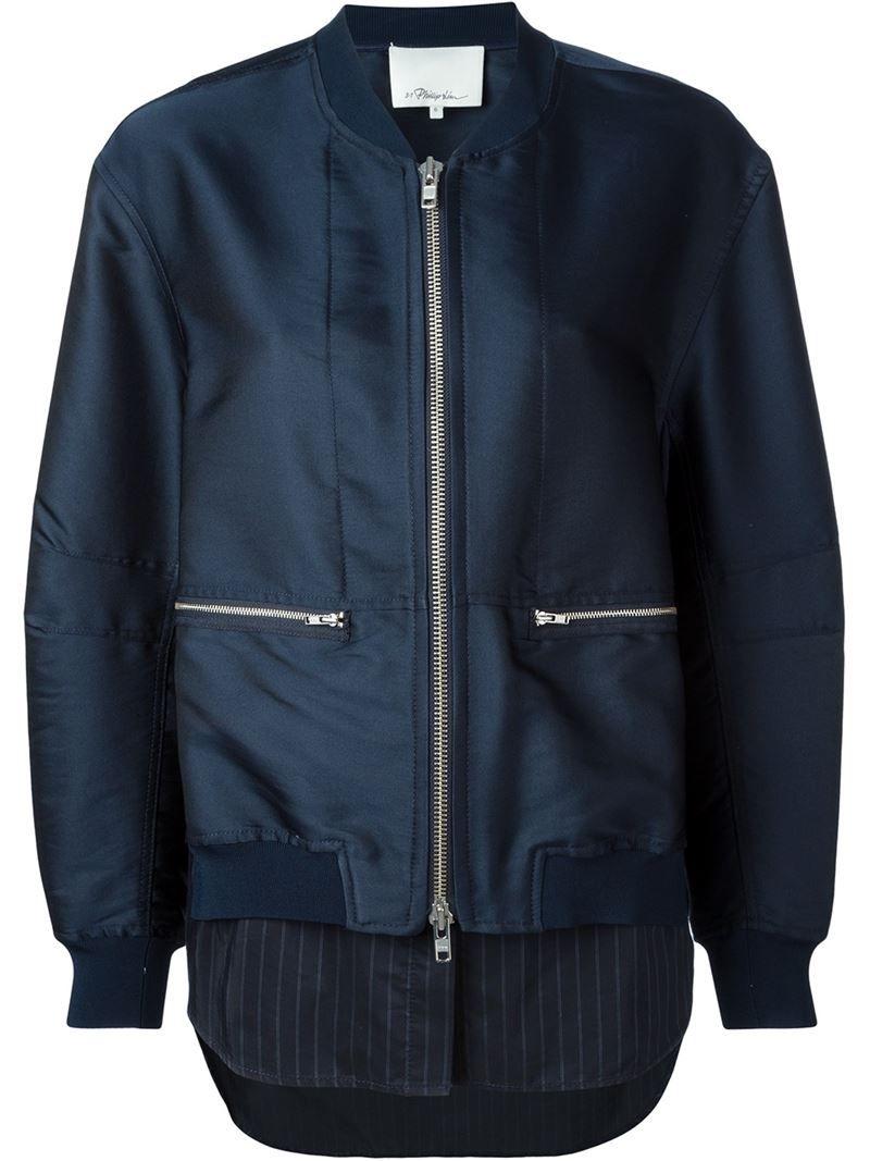 3.1 Phillip Lim - Shirt Tail Bomber Jacket - Women -  Silk/Polyester/Spandex/Elastane/Viscose - 4. Dark blue bomber jacket from  3.1 Phillip Lim featuring a ...