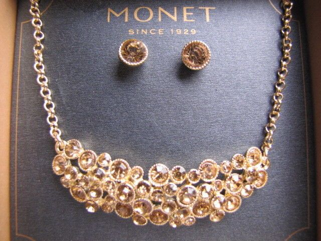 Monet Jewelry Monet Crystal-Accent Gold-Tone Necklace and Earring Set k2VKGxii