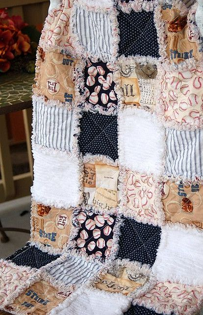 The Vintage Baseball Baby Rag Quilt w/ Alexander Henry fabric ... : baseball fabric for quilting - Adamdwight.com