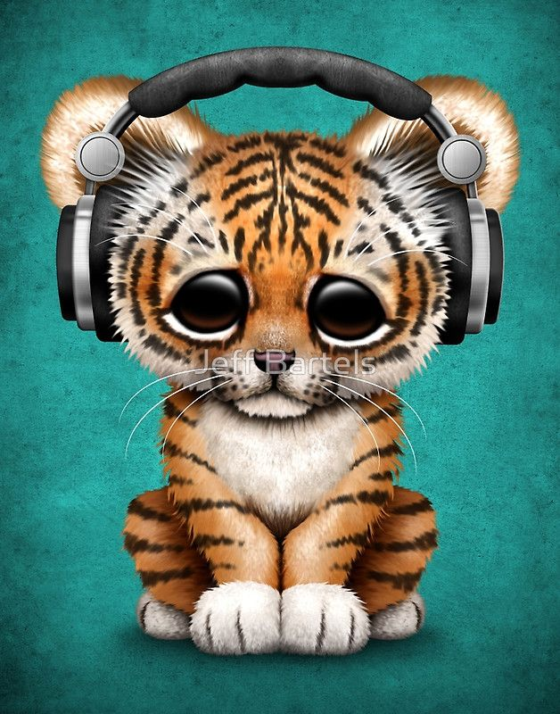 Cute Tiger Cub Dj Wearing Headphones On Blue Jeff